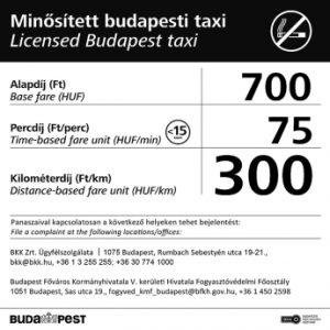 Taxis engedély, Taxis tarifa táblázat